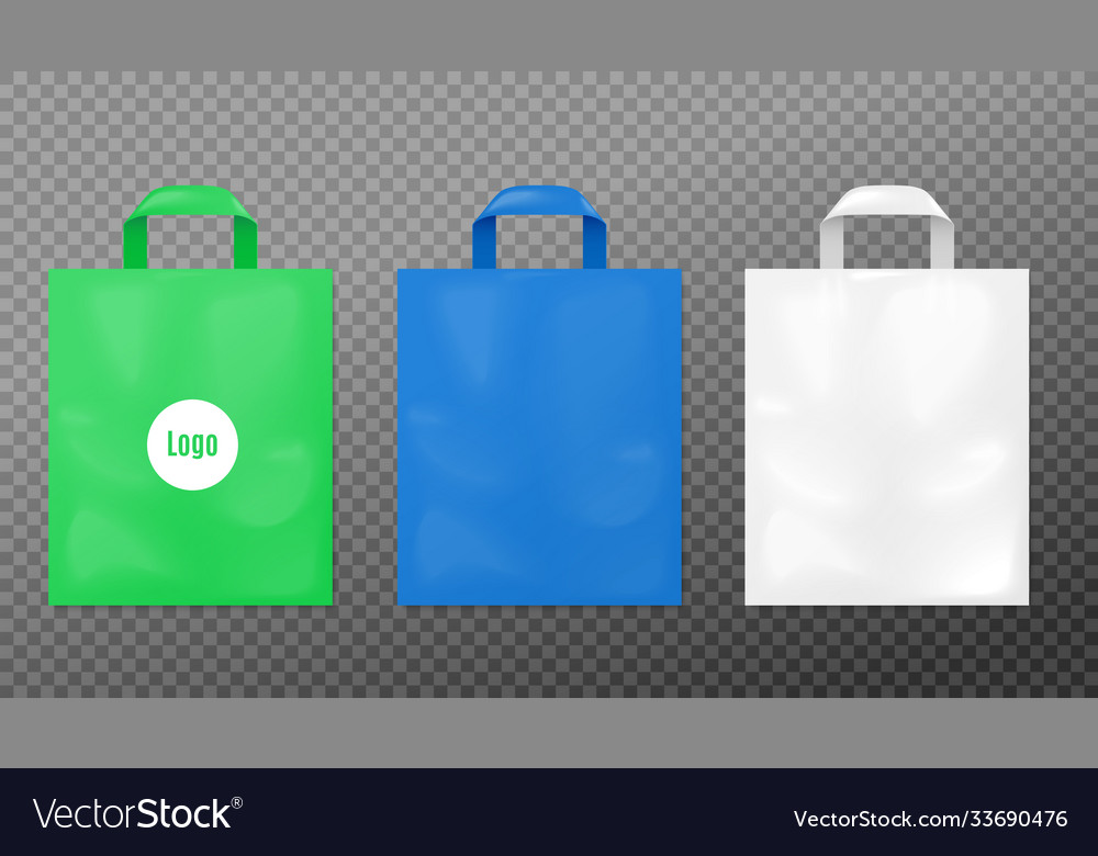 Here's the best free bag mockups such as shopping bag mockup, paper bag mockup, tote bag mockup, canvas bag mockup, eco bag mockup, plastic bag mockup,. Realistic Plastic Bag Mockup Set Green Blue And Vector Image