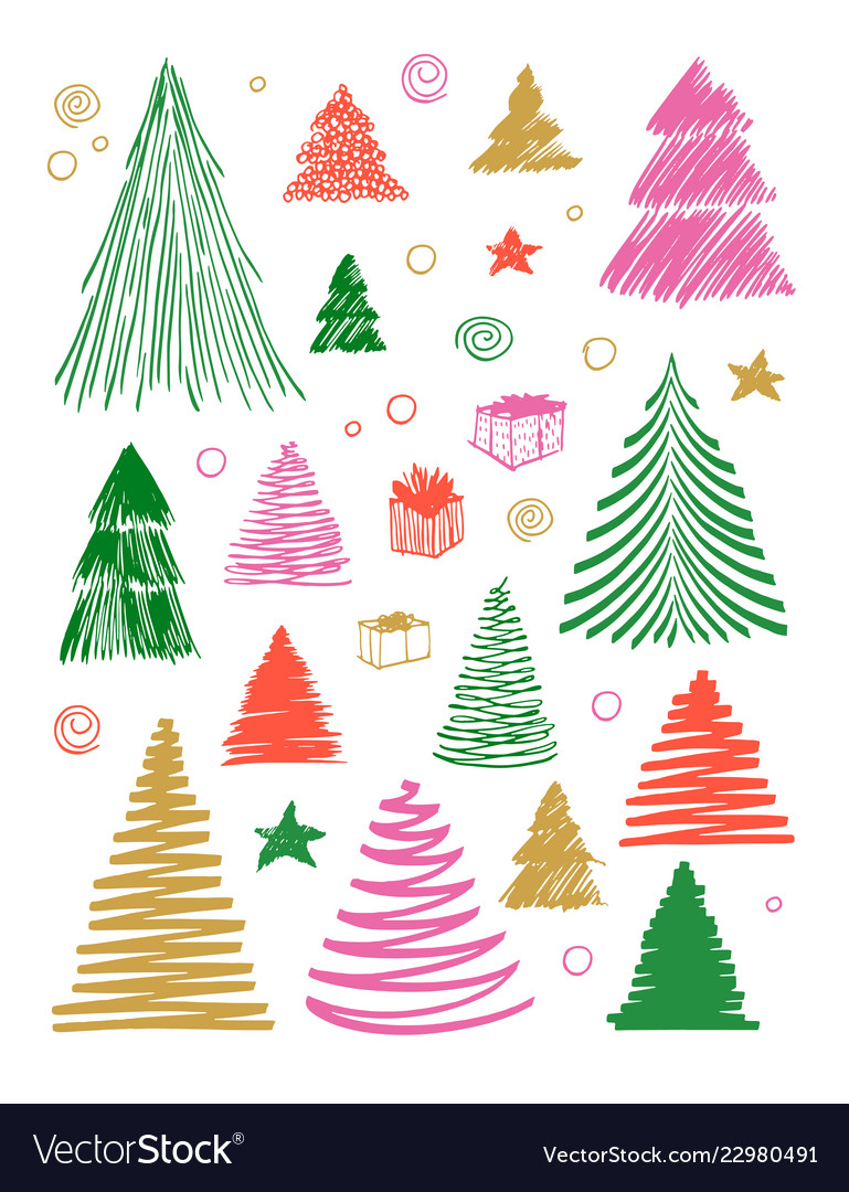 Christmas Tree Doodle : christmas, doodle, Christmas, Doodle, Drawn, Vector, Image