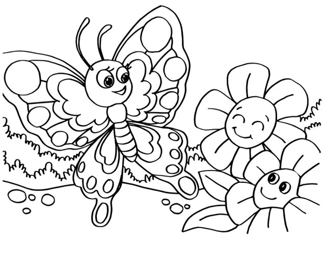 Butterfly Coloring Pages Royalty Free Vector Image