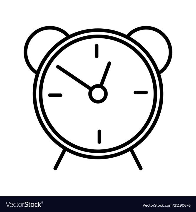Alarm Clock Line Icon Isolated On White
