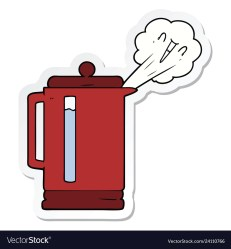 Sticker a cartoon electric kettle boiling Vector Image
