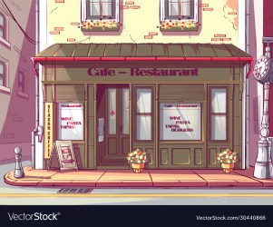 Cartoon background cafe in hungary Royalty Free Vector Image