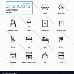 Chair Design Icons Living Room And Ottoman Furniture Line Set Royalty Free Vector Image