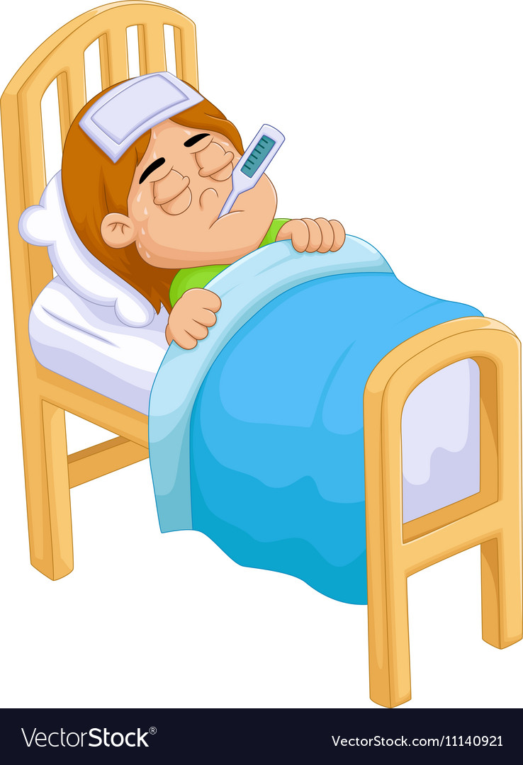 Girl In Hospital Bed Funny : hospital, funny, Cartoon, Royalty, Vector, Image