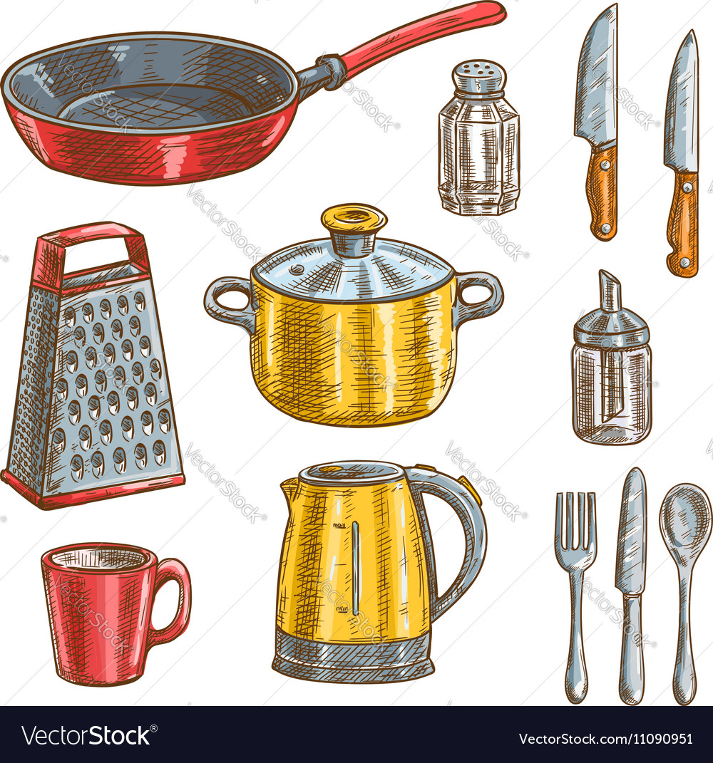 kitchen utensils mini light pendant for island and cooking sketches royalty free vector image