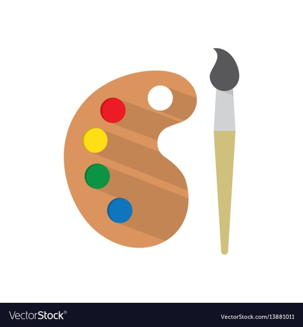 Paint Brush With Palette Royalty Free Vector