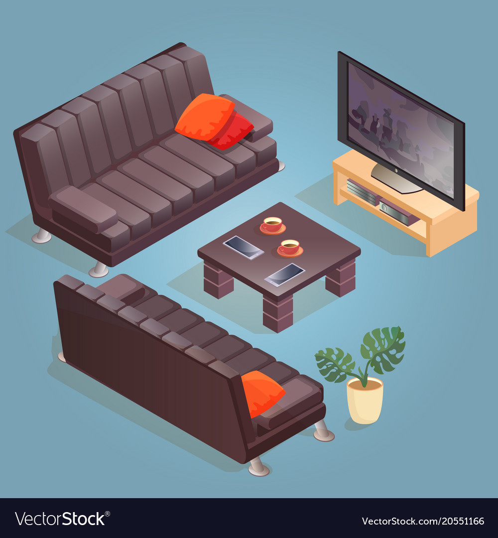 tv sofa lime green living room isometric cartoon icon isolated on blu vector image