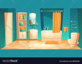 Modern bathroom interior with furniture cartoon Vector Image