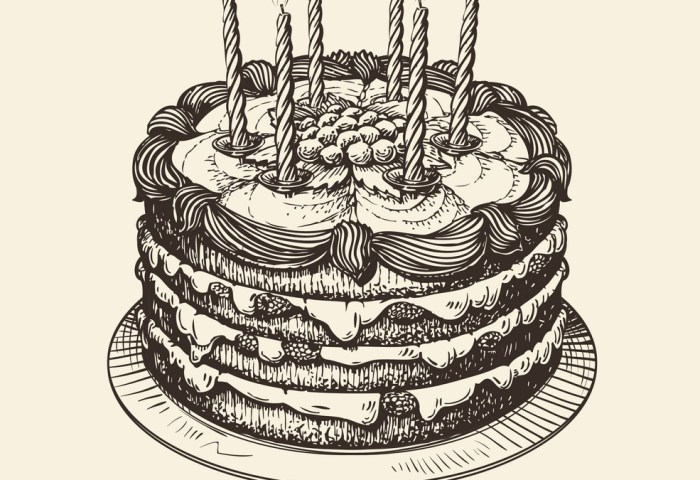 Happy Birthday Cake With Burning Candles Sketch Vector Image