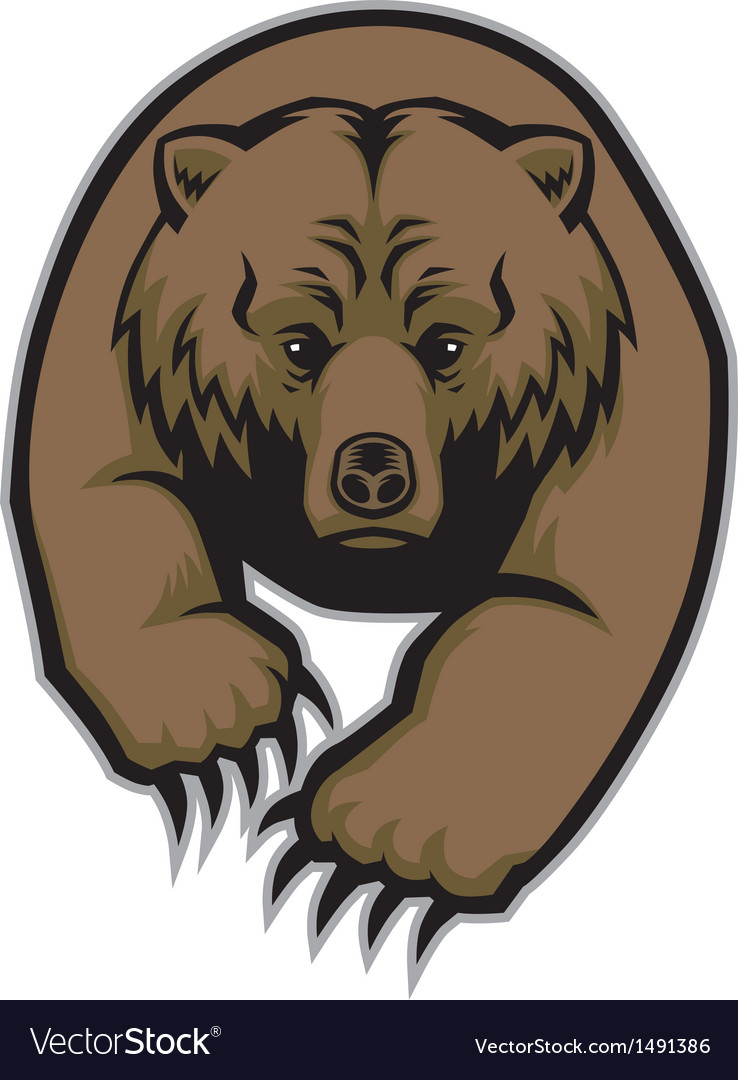 hight resolution of grizzly bear mascot vector image
