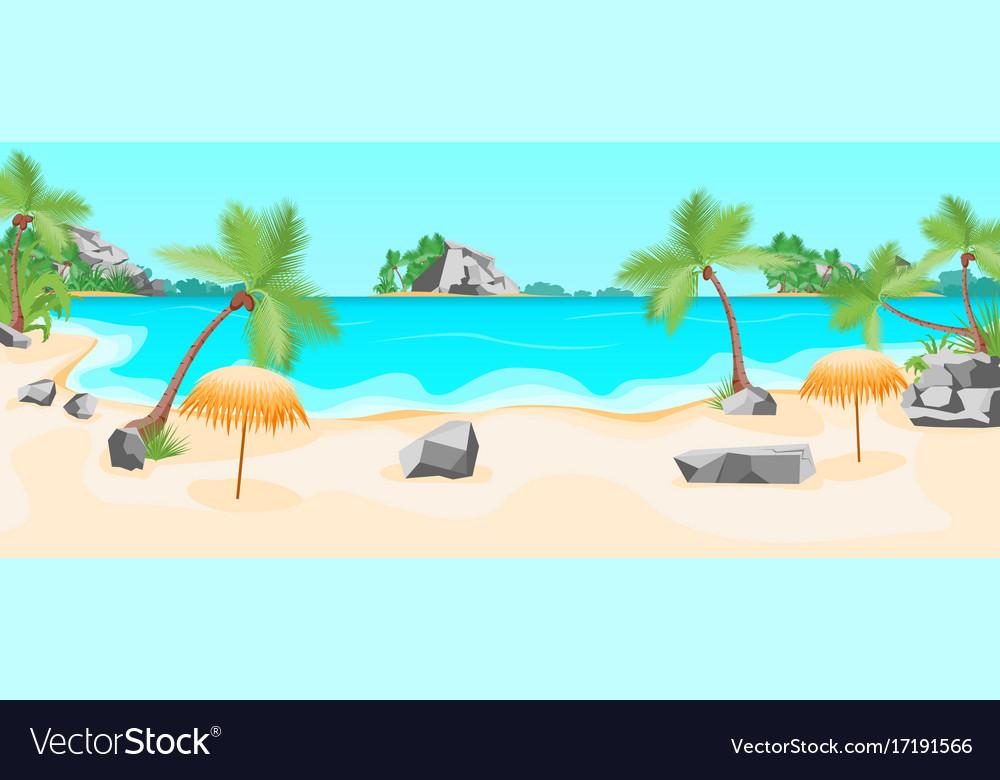 Cartoon Tropical Beach Summer Landscape Background