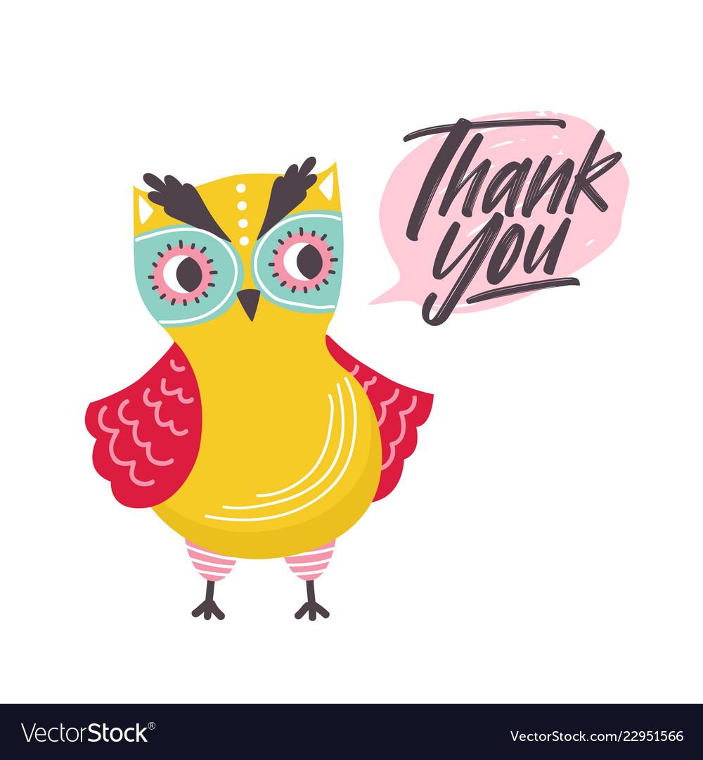 cute owl saying thank