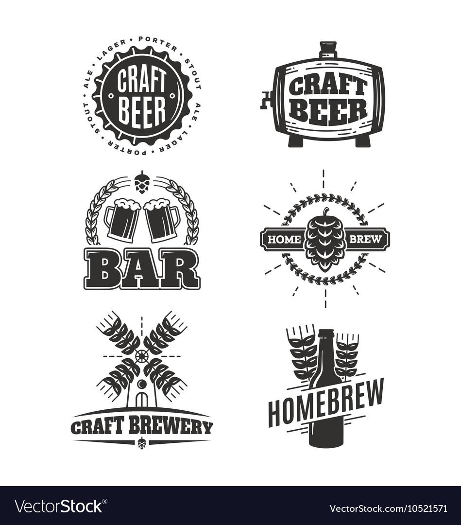 Vintage Craft Beer Logos Royalty Free Vector Image