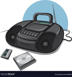 portable tape recorder with cd player vector image [ 1000 x 1021 Pixel ]