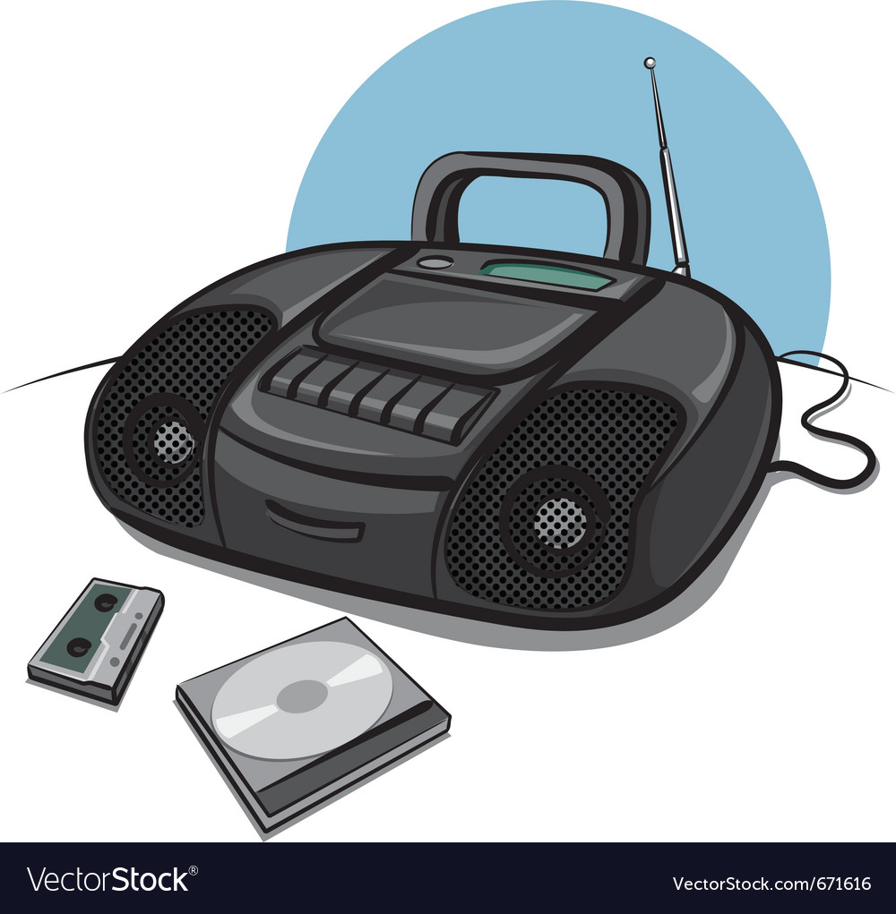 hight resolution of portable tape recorder with cd player vector image