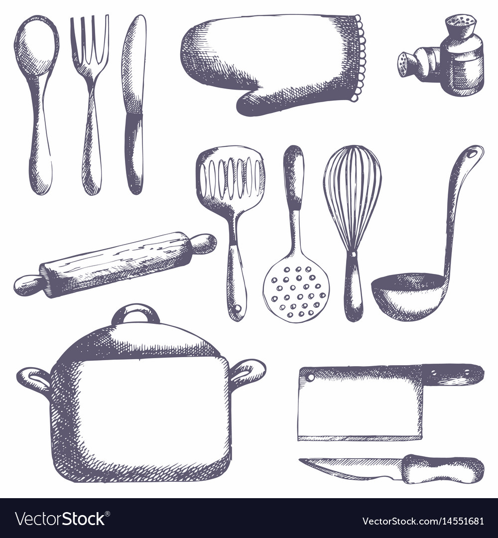 kitchen tool set small apartment ideas tools hand drawing royalty free vector image