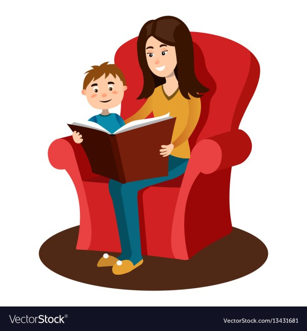 Mother Read Book Child Cartoon Royalty Free Vector