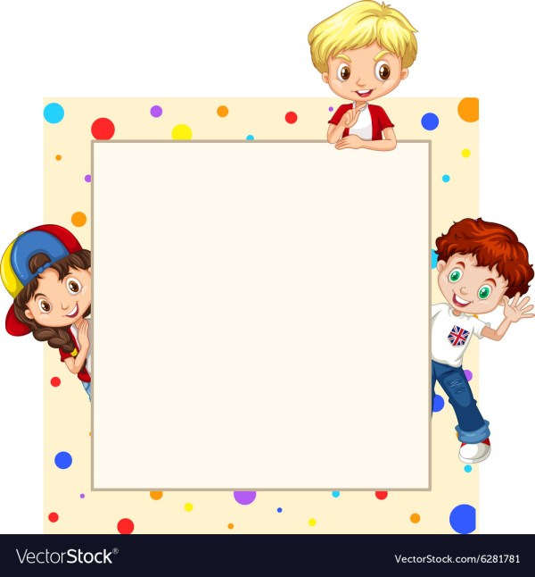 Border Design With Children Royalty Free Vector