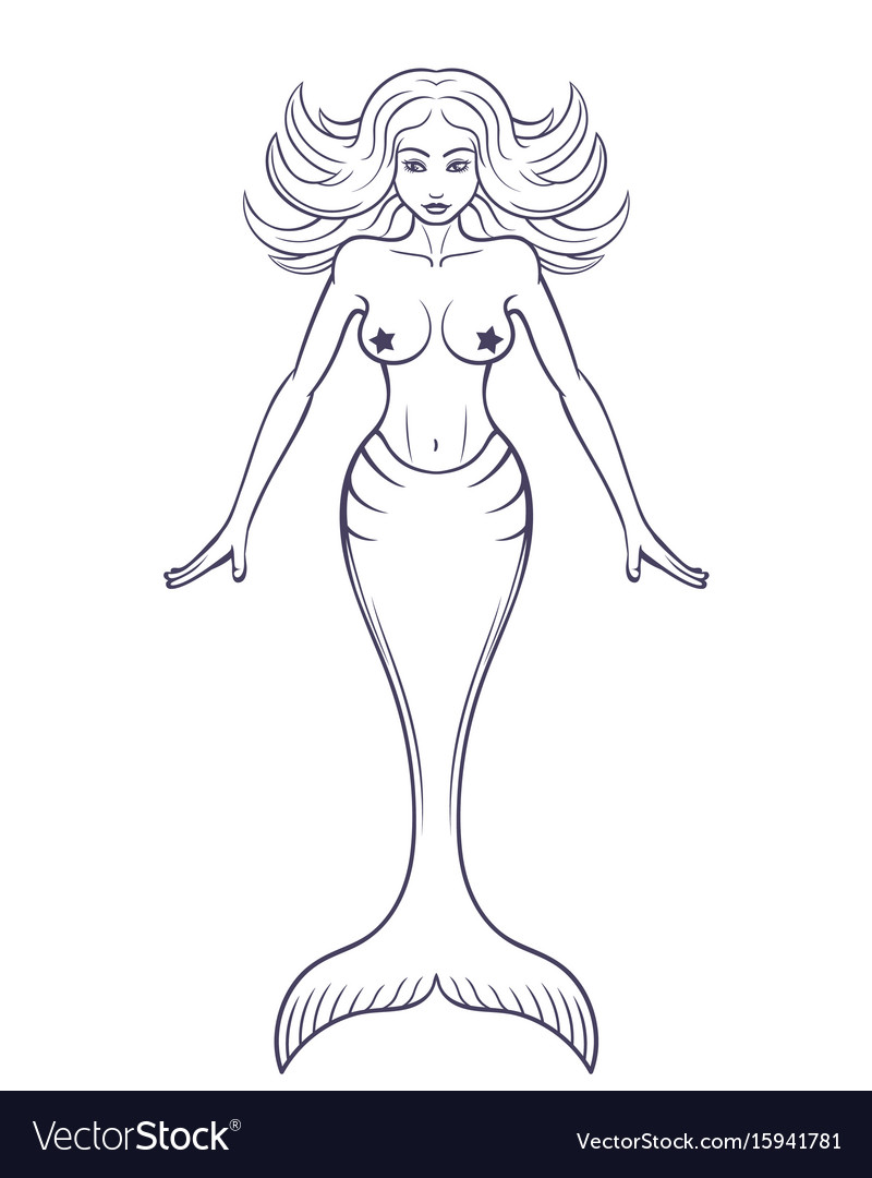mermaid outline isolated over
