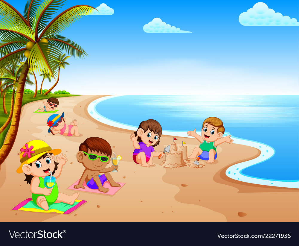 Summer Vacation In The Beach With The Children Vector Image