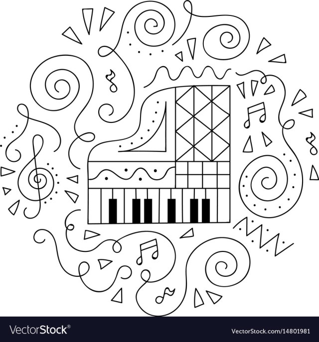Doodle piano coloring page Royalty Free Vector Image