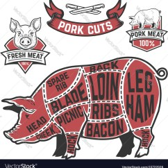 Pig Cuts Diagram 1996 36 Volt Ezgo Wiring Pork Butcher Cow On White Background Vector Image