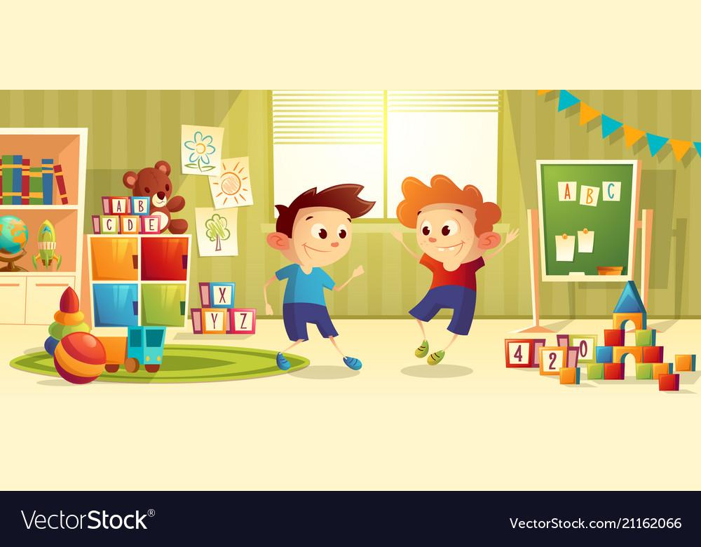 cartoon preschool kindergarten with