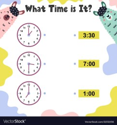 What time is it worksheet for kids telling time Vector Image [ 1080 x 1000 Pixel ]