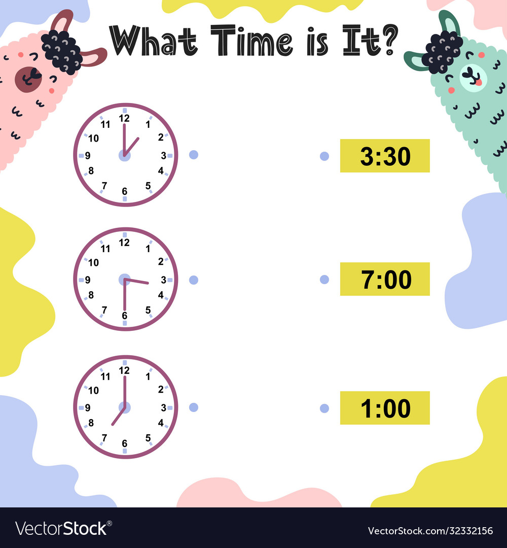 medium resolution of What time is it worksheet for kids telling time Vector Image