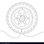 Continuous Line Drawing Car Wheel Line Royalty Free Vector