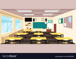 Cartoon empty classroom high school room interior Vector Image