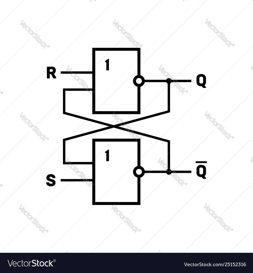 hight resolution of flip flop latch circuit vector image