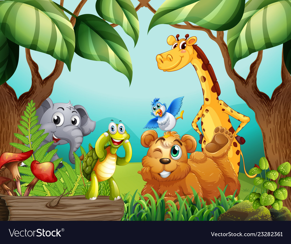 Wild Animals In Nature Royalty Free Vector Image