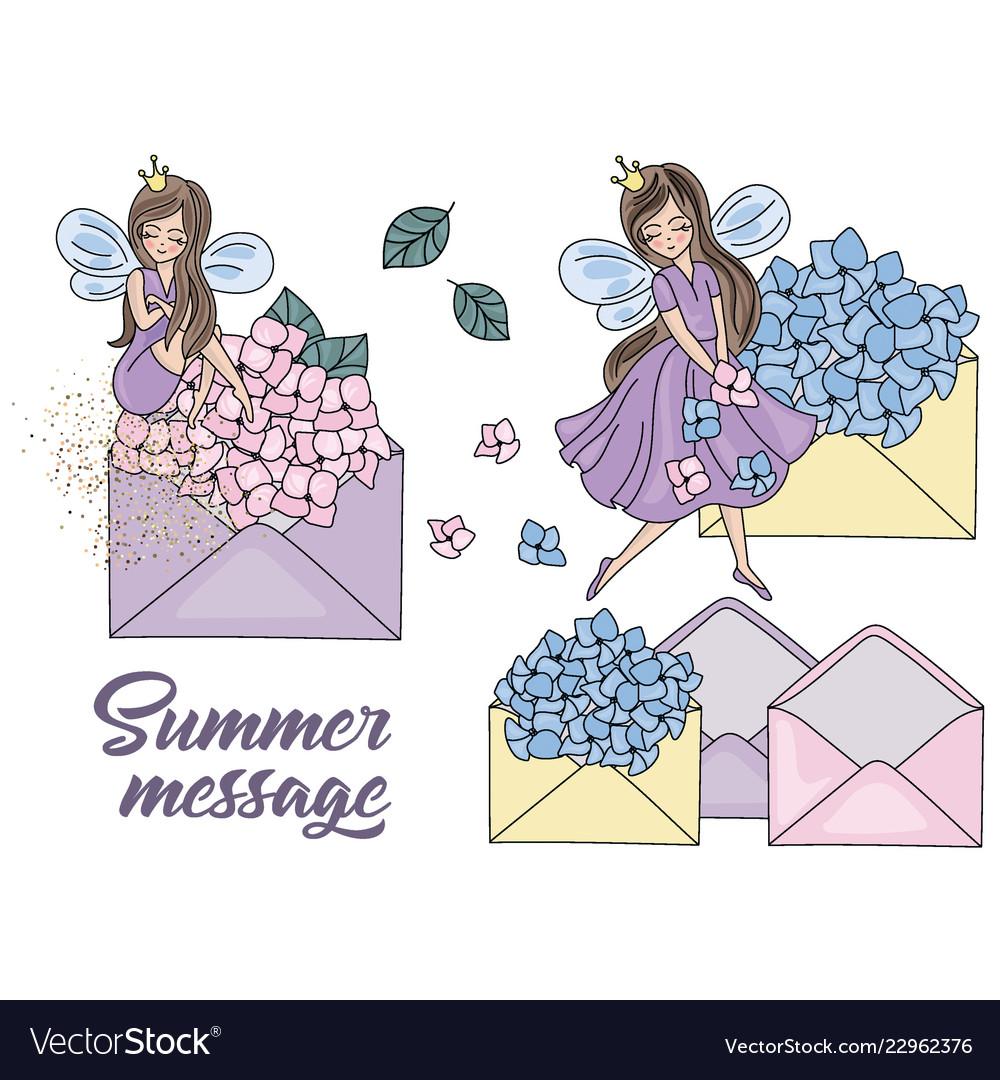 hight resolution of summer message cartoon wedding clipart vector image