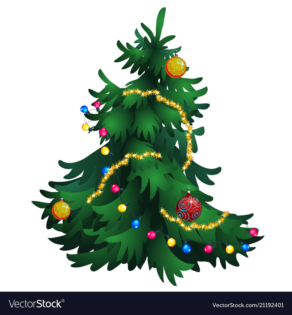 Cartoon Christmas Tree With Decorations Isolated Vector Image