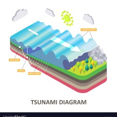 Tsunami Diagram With Labels Plant Cell No Seismic Sea Wave Isometric Vector Image