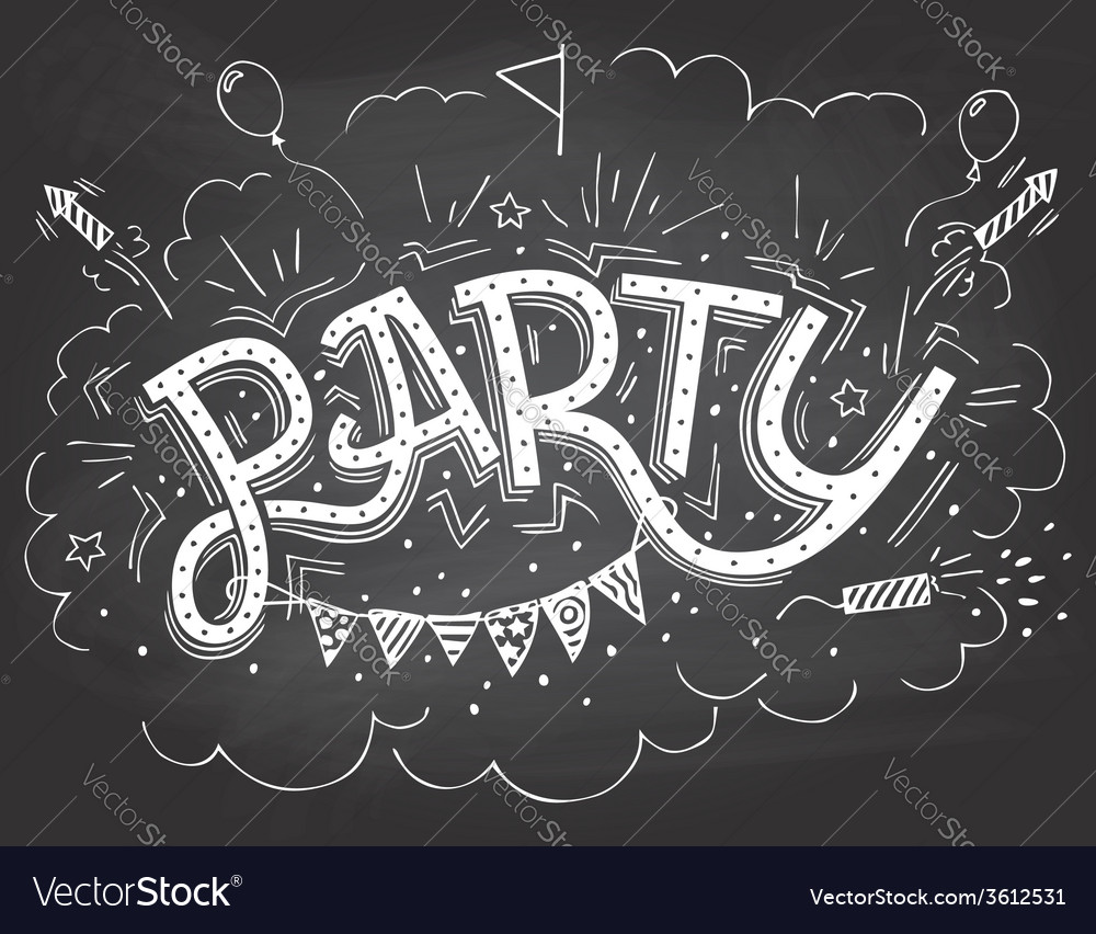 party hand lettering invitation