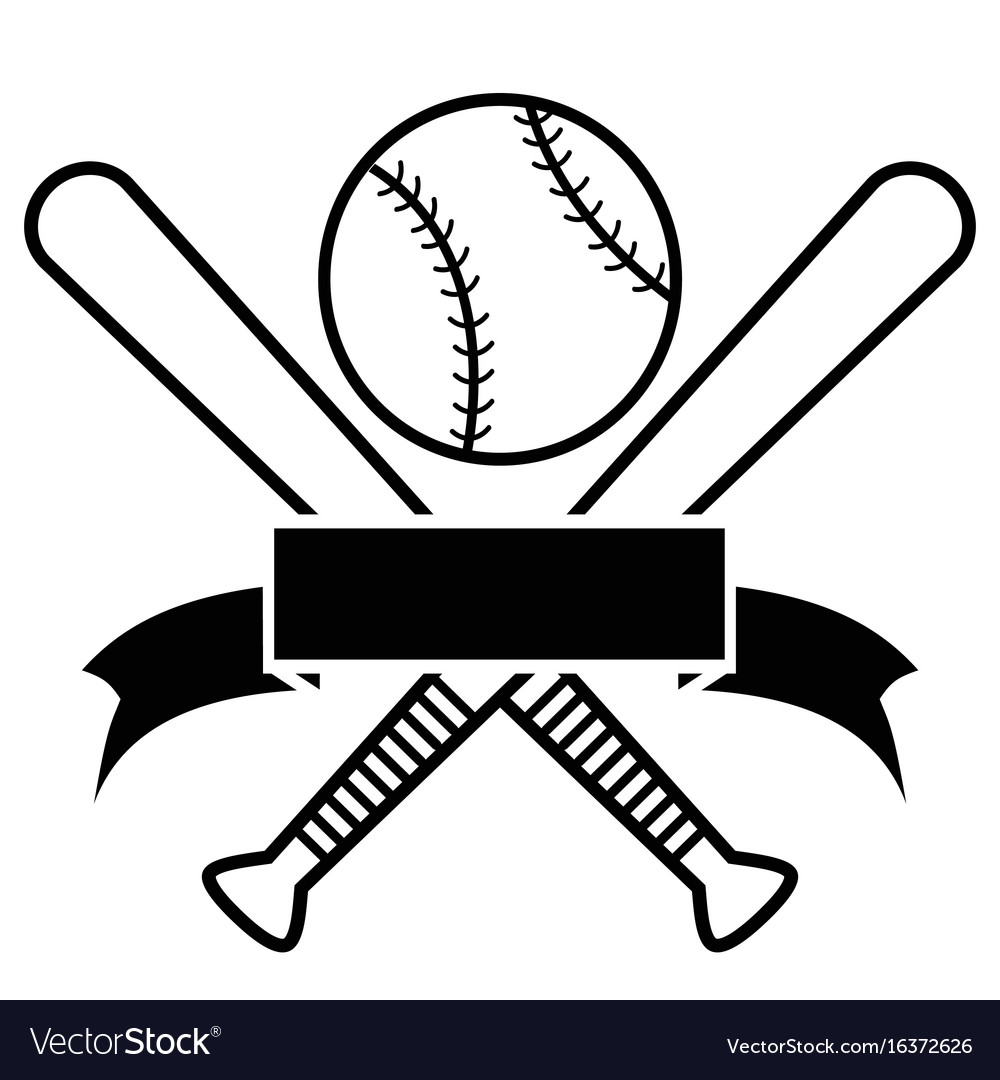 Download Crossed baseball bats and ball with banner Vector Image