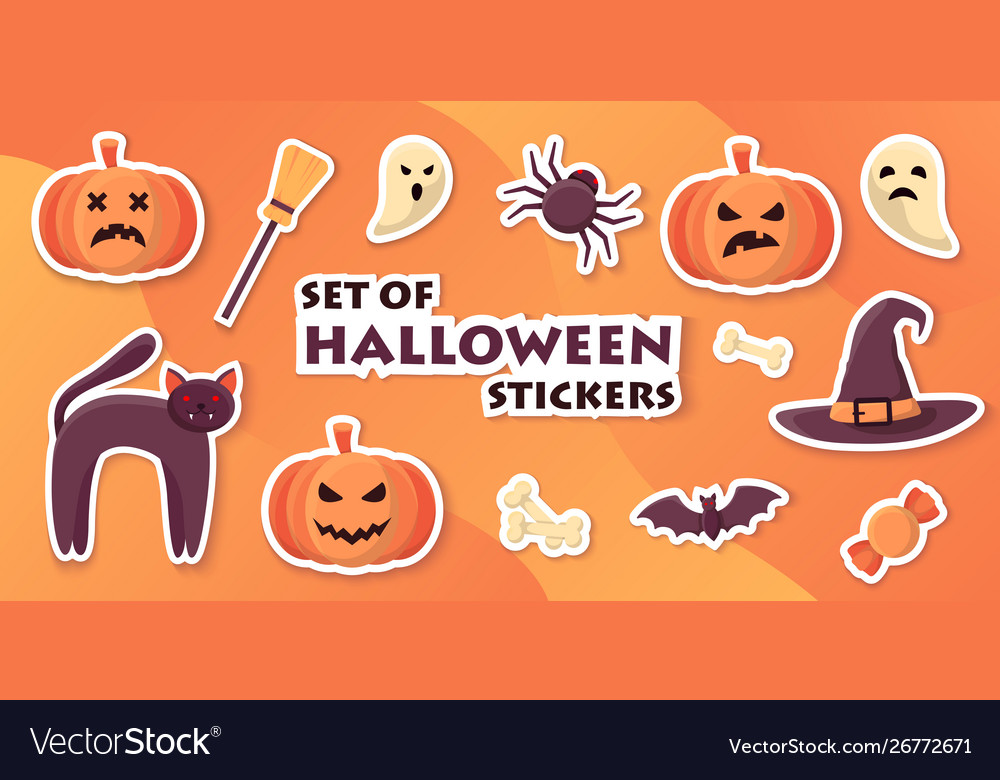 halloween stickers template with