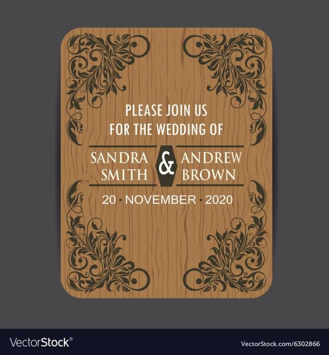 Wooden Wedding Invitation Royalty Free