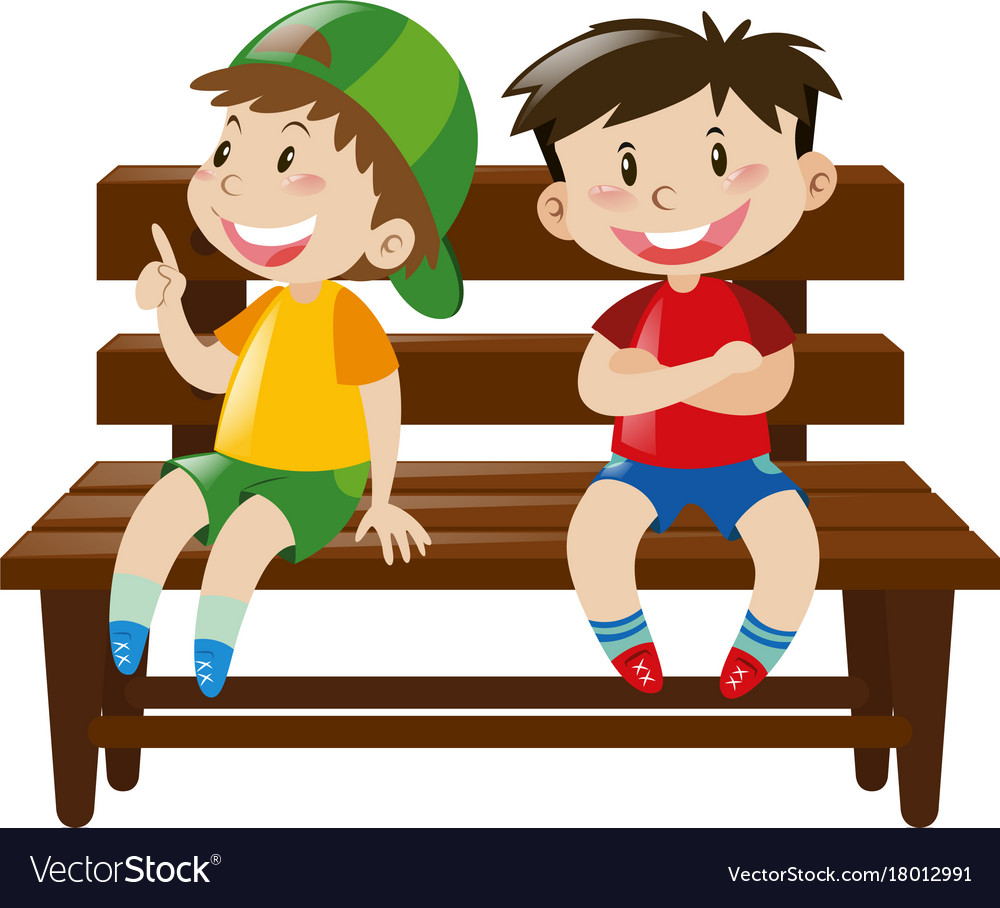 Boys Chair Two Boys Sitting On Wooden Chair