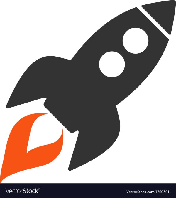 Space Rocket Launch Flat Icon Royalty Free Vector