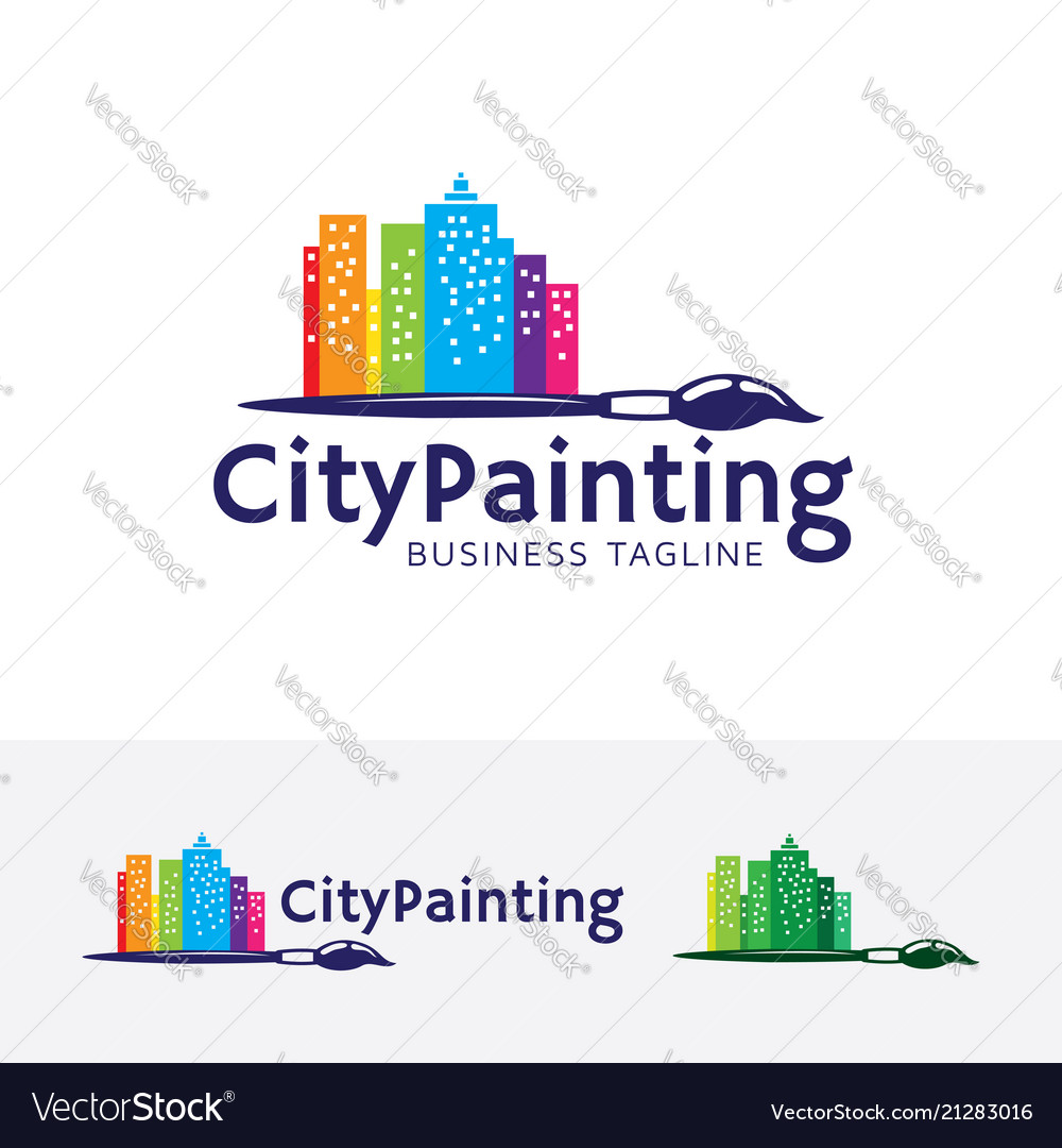 city painting logo design