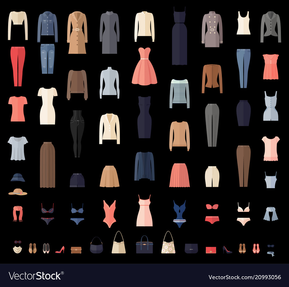 women clothes icons set