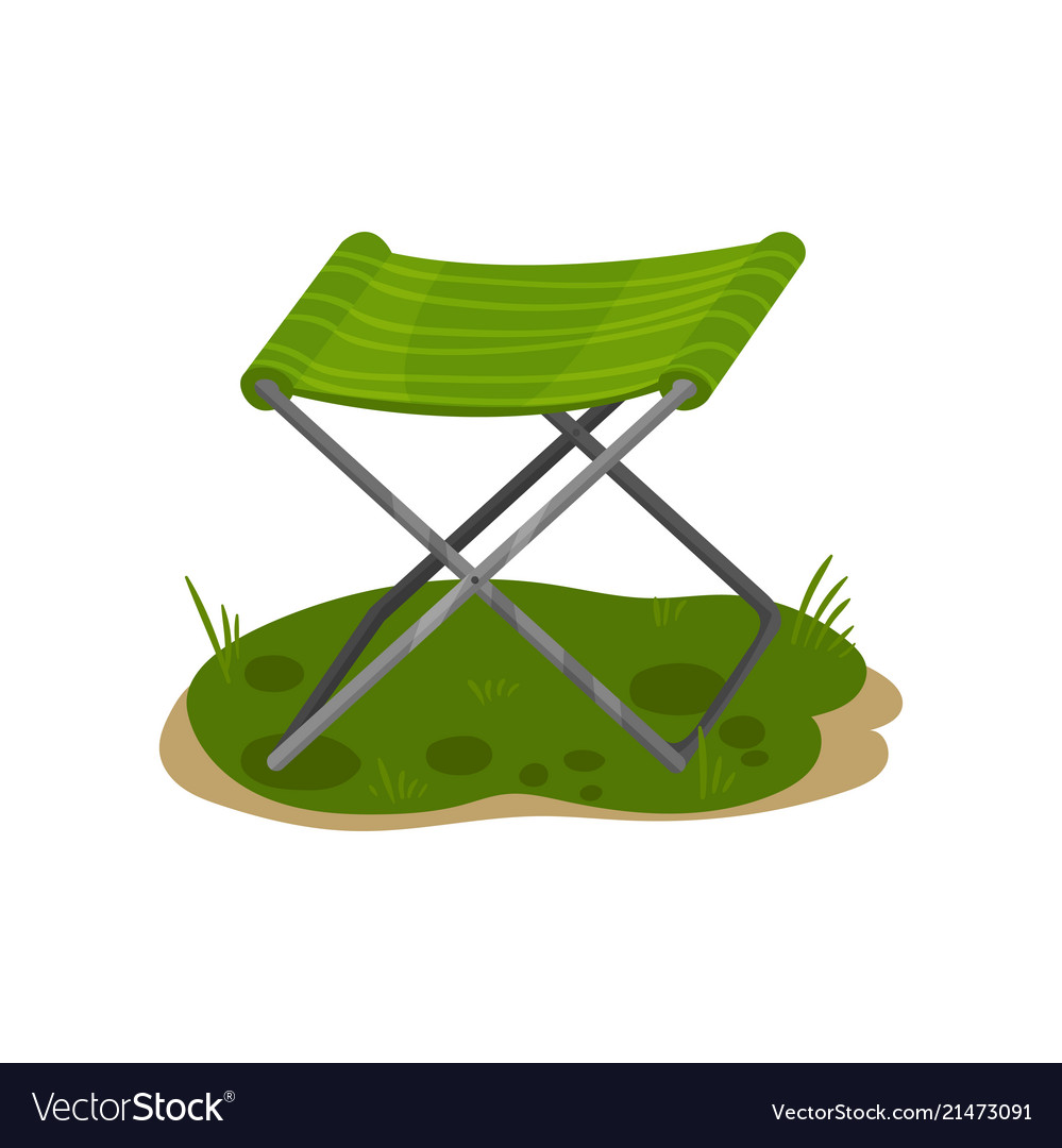 green fishing chair golden tech lift folding camp royalty free vector image
