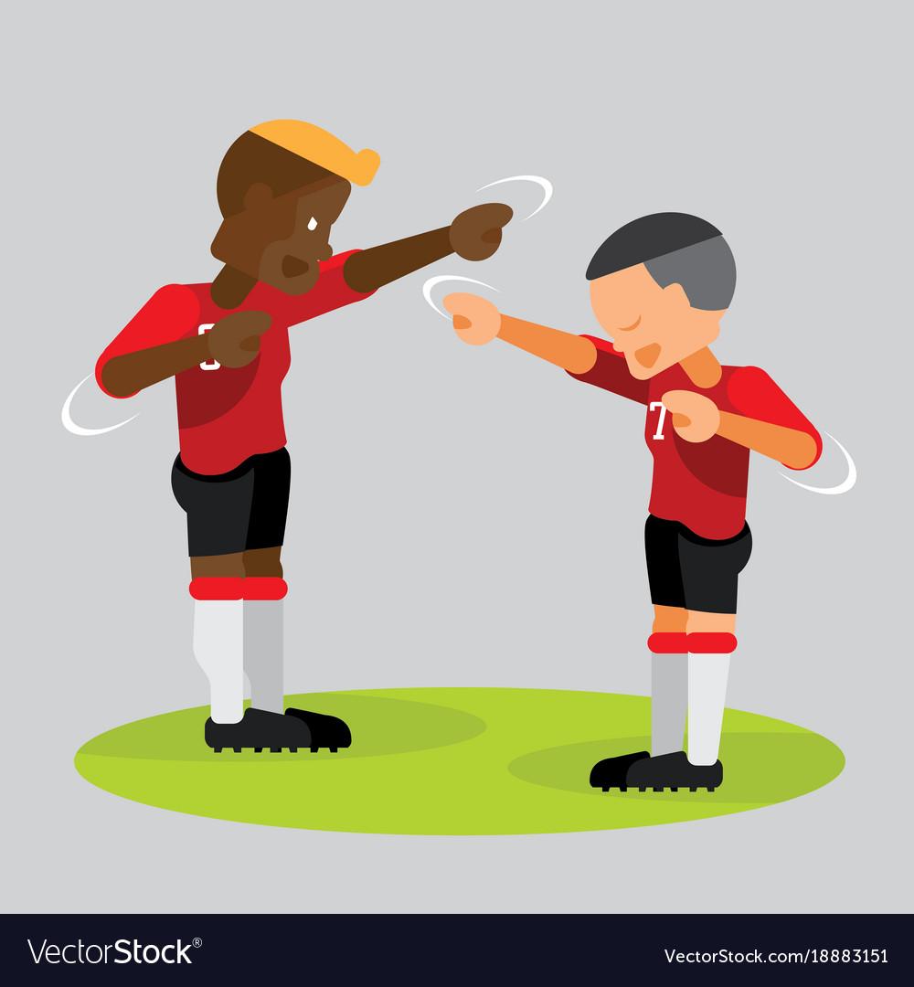 soccer players partner celebrating