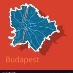 Sticker Scheme Of The Budapest Hungary City Plan Vector Image