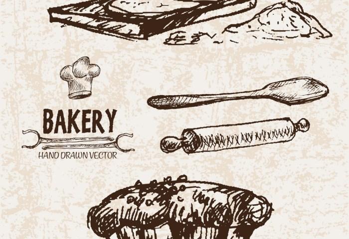 Digital Detailed Line Art Bakery Royalty Free Vector Image
