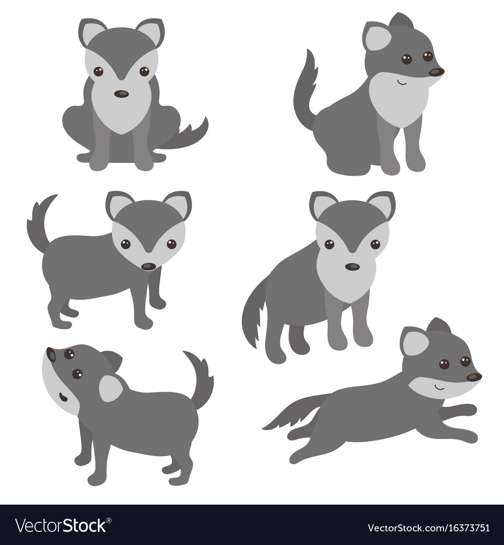 set of cute wolves