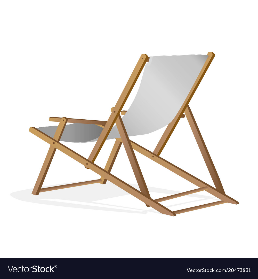 Folding Wood Beach Chair Beach Chair Over White Background